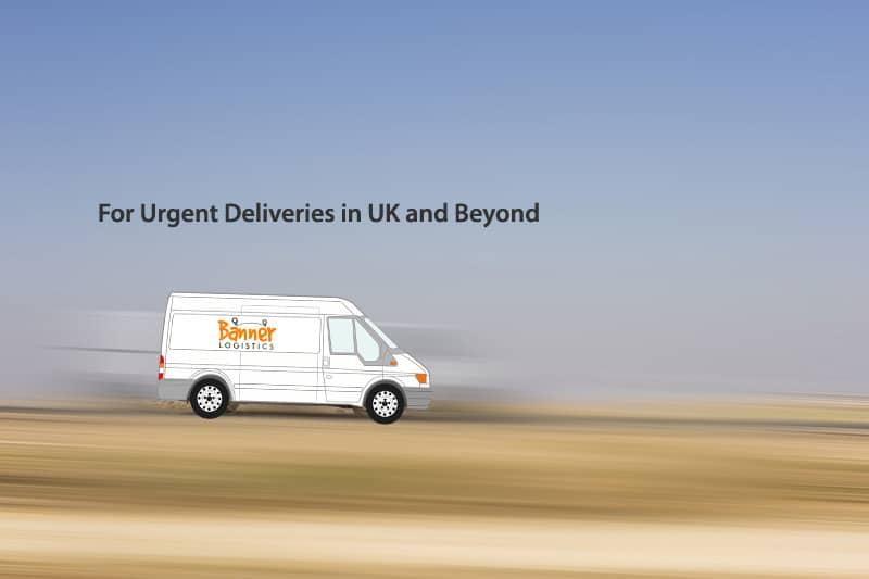 Banner Logistics Courier Van travelling fast