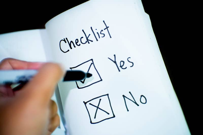 business checklist with yes and no boxes checked