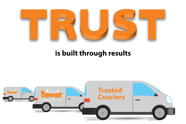three delivery vans with large text above