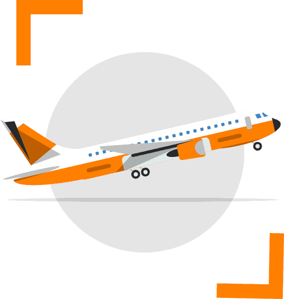 Airplane illustration for on board worldwide courier service
