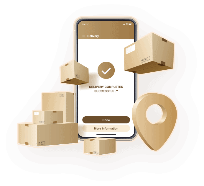 cardboard boxes and mobile phone illustration