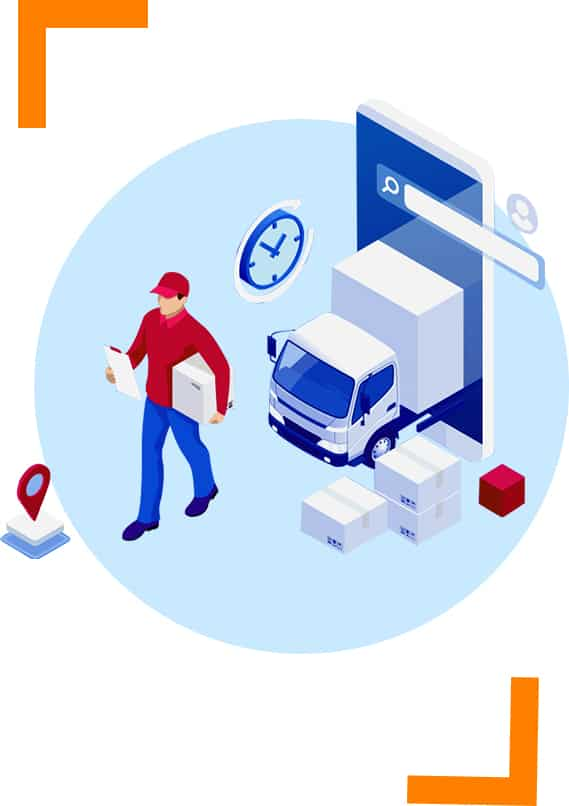 illustration of a courier driver looking at delivery consignment note