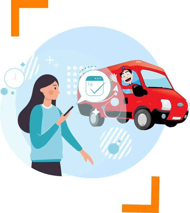 illustration of a courier driver waving female holding mobile phone