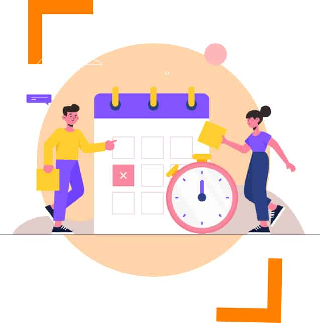 illustration of calendar and two person leaning