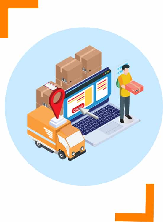 illustration of cardboard parcel box delivery courier van and driver holding package