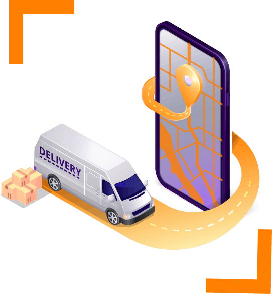illustration of delivery van and courier software app