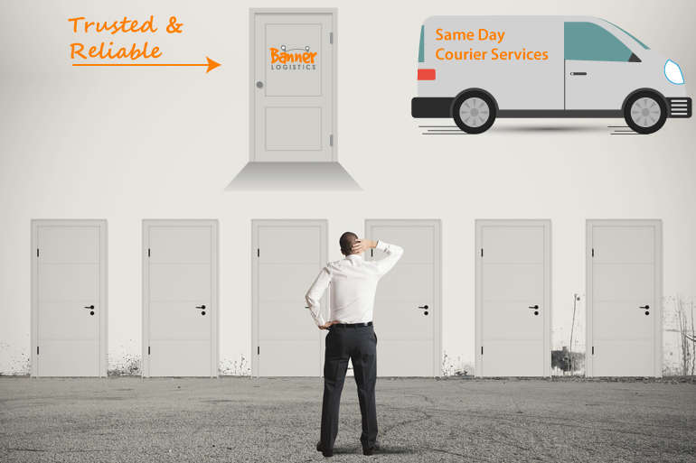 businessman in front of doors for choice and courier vehicle