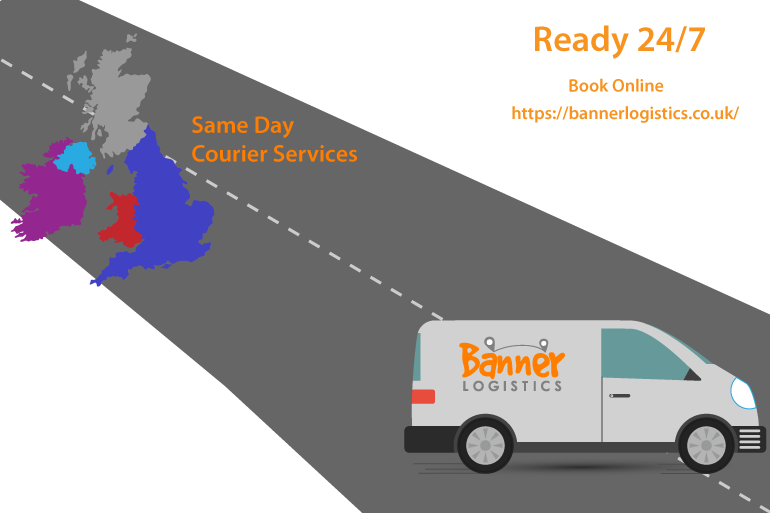 road with courier van and United Kingdom Map
