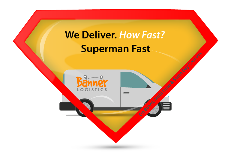 superman symbol and delivery van illustration