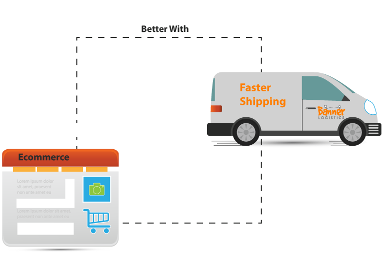 webpage icon with shopping basket and courier van